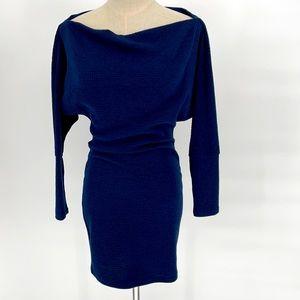 Blue blush navy blue waffle knit long sleeve dress